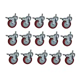 MUMA Casters Red Heavy Plastic Core High Strength TPU Orientation Universal Brake Wheel 3 4 5 Inch 15 Pack (Color : Red5, Size : 4 inches)