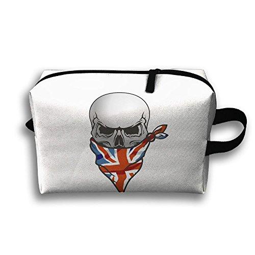 UK Flag Skull Travel Bag Cosmetic Bags Brush Pouch Portable Makeup Bag Zipper Wallet Hangbag Pen Organizer Carry Case Wristlet Holder -