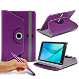 N4U Online - Purple Tablet Luxury 360° Rotating PU Leather Wallet Spring Stand Skin Case Cover & Touchscreen Stylus Pen For HP Pavilion x2 Tablet
