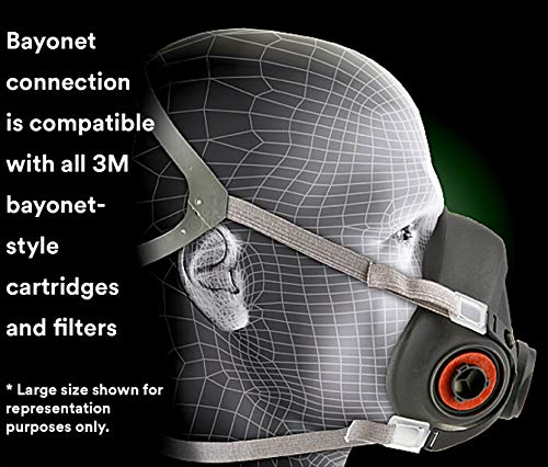 3M Half Facepiece Reusable Respirator 6100, Gases, Vapors, Dust, Paint, Cleaning, Grinding, Sawing, Sanding, Welding, Small