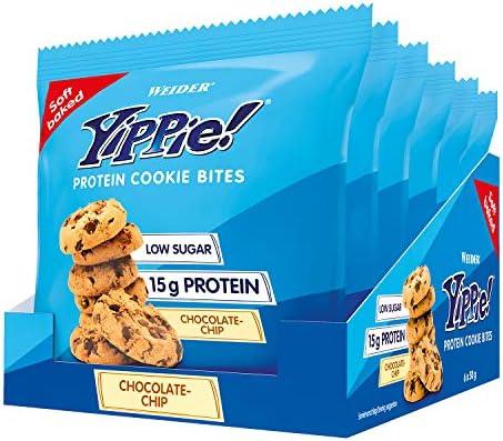 Weider Yippie Cookies. Galletas con Proteína y Chocolate Puro. Sin aceite de palma (6x 50 g). 15 g de proteínas por bolsita. Bajas en azúcar.