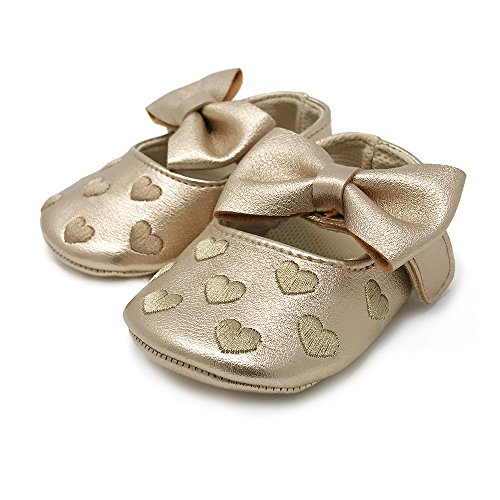 FRILLS Infant Toddlers Baby Boys and Girls Soft Soled Fringe Crib Shoes PU Moccasins - Gold Heart (for ages 0-6 months/11 cm (Baby Phat Shoes)