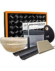 "Bread Banneton Proofing Basket Artisan Baking Kit Gift Set   9"" Banneton Bread Proofing Basket   2 Baguette Baking Pan   Bread Lame   Flax Linen Couche   Dough Scraper   Dough Cutter"