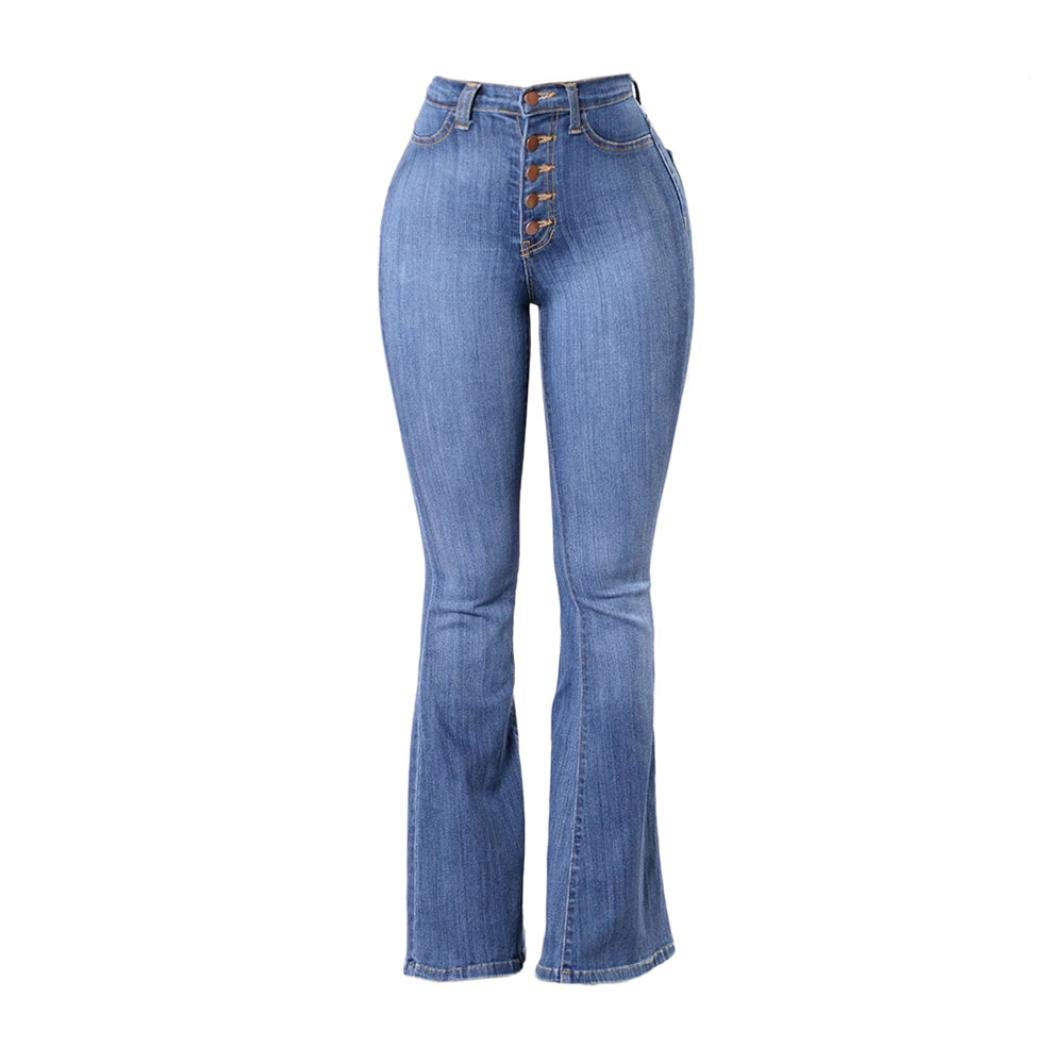 Usstore  High Waisted Stretch Skinny Denim Jeans,Bell Bottom Pants for Women (Blue, L)