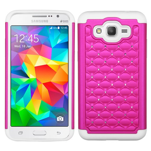 Samsung Galaxy Grand Prime , Luxca (Tm) Samsung Galaxy Grand Prime (Samsung G530) (cricket) Hybrid Heavy Duty Rugged Impact Advanced Armor Soft Silicone Cover Hard Snap On Studded Diamond Bling Case + Clear LCD Screen Protector + Luxca (Tm) Stylus Pen (Pink / White Studded)