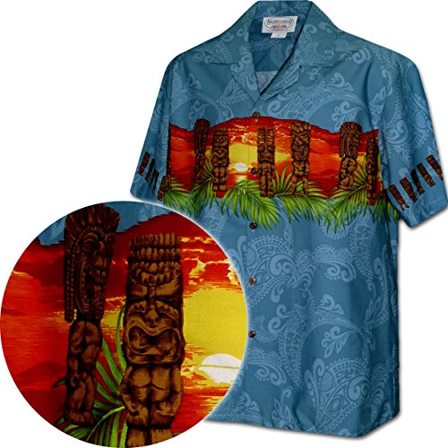 (Pacific Legend Hawaiian Tiki Men's Aloha Shirt-3924-BLUE-2XL)