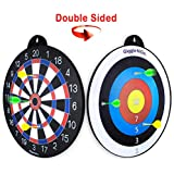 GIGGLE N GO Reversible Magnetic Dart Board For Kids - Excellent Indoor Game, Will Make a Great Boys Gift for Christmas - 1 Fun Kids Game on Each Side, Just Turn It Around and Play a Different Fun Game