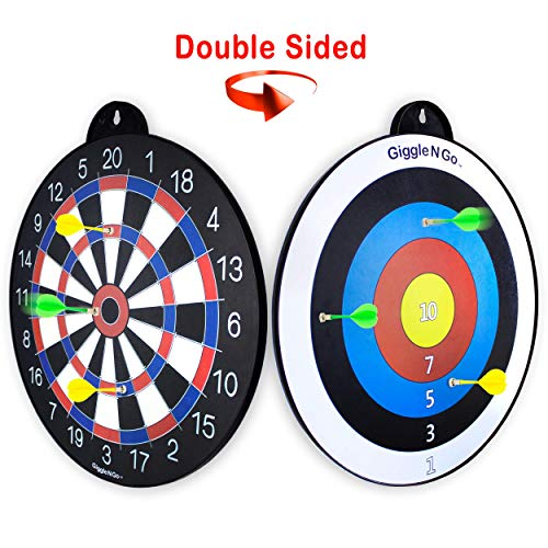 GIGGLE N GO Magnetic Darts Boys Gifts - Very Popular Gifts for Boys and Boys Toys for Age 5 and Above - Reversible and Easy to Set Up, Magnetic Dart Boards are The Safe Indoor Games Option