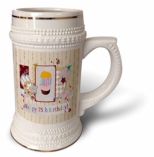 3dRose-Beverly-Turner-Birthday-Design-Collage-of-Stars-Cupcake-and-Candle-Happy-75th-Birthday-22oz-Stein-Mug