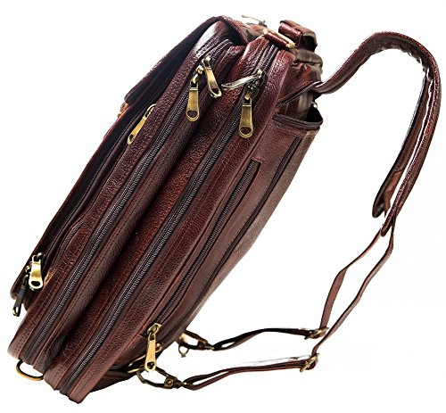 Urban Leather 16 Inch 3-in-1 Full Grain Handmade Dark Tan Bagpack-Handbag-Sling Laptop Ipad Leather Bag by Urban Leather (Image #3)