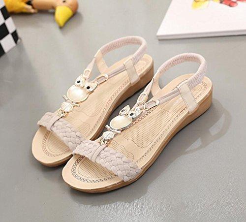 Yiiquan Mujer Sandalias Bohemia Con Cuentas Zapatillas T-Strap Sandalias De Playa Estilo4 Beige
