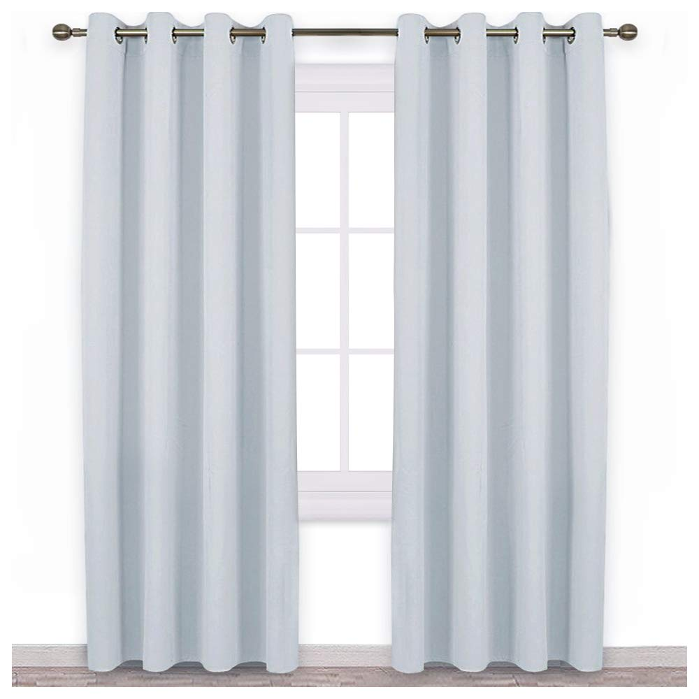 NICETOWN Room Darkening Curtain Panels - Home Fashion Ring Top Thermal Insulated Room Darkening Curtains for Bedroom/Nursery (2 Panels, 52 inches W x 95 inches, Greyish White)