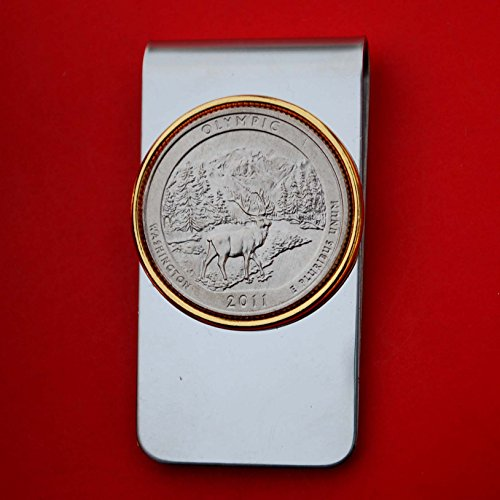 US 2011 Washington Olympic National Park Quarter BU Uncirculated Coin Two Toned Money Clip New - America the Beautiful