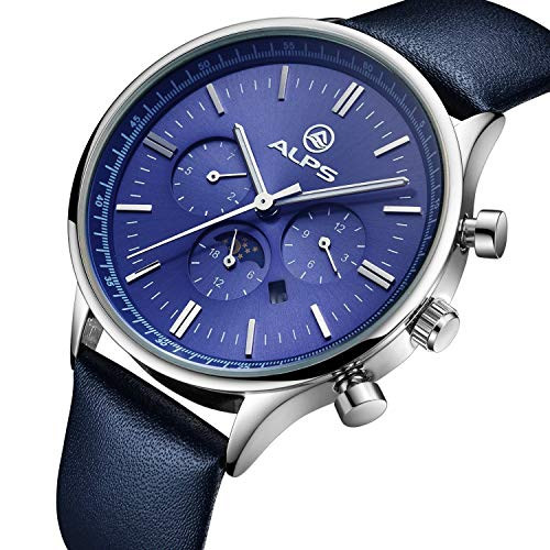 ALPS Mens Watch Waterproof Calendar Sapphire Crystal Sub-dials Blue Genuine Leather Dress Watch for -