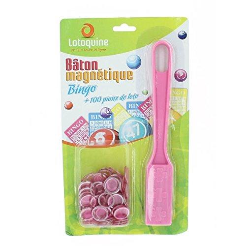 Magnetstab + 100Spielsteine für Bingo/ Tombola (rosa) Lotoquine BSK1B2