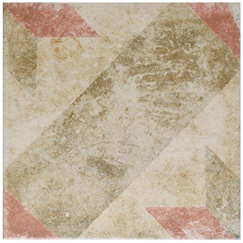 SomerTile FCD10PSR Vesuvius Star Porcelain Floor & Wall Tile, 9.5 inch x 9.5