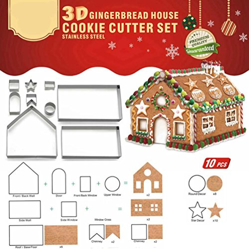 Coerni Stainless Steel DIY 3D Gingerbread House Mold Cookie Cutter Set