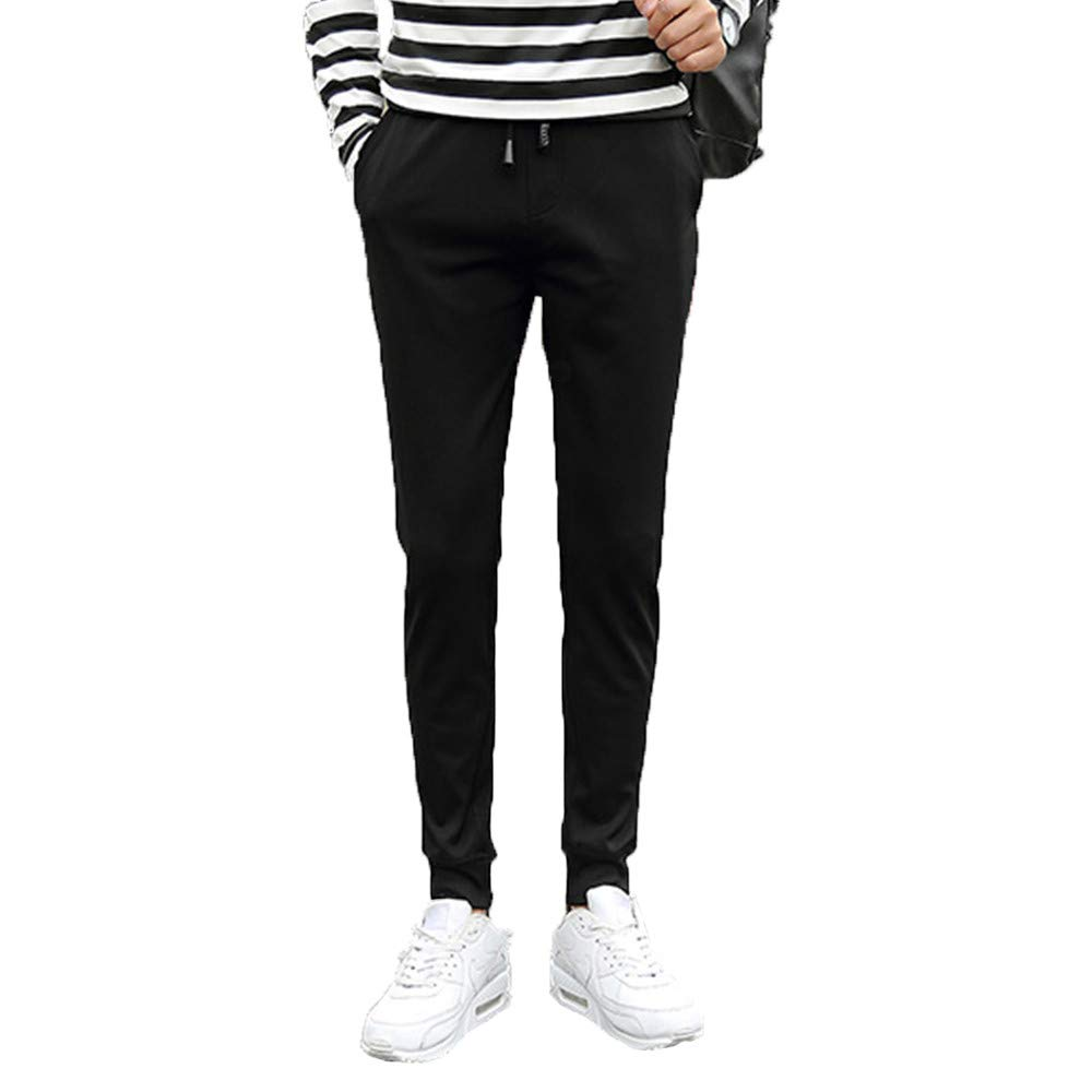 iYBUIA Men Black Solid Color Casual Fashion Comfortable Foot Pants