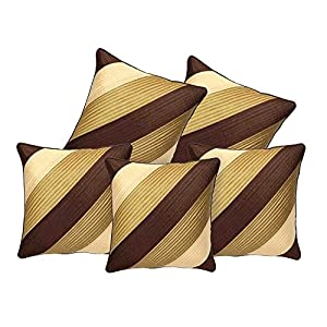Decor Studioz Geometric Design Synthetic Cushion Cover(16×20-inches, Set of 5) – Brown and Gold