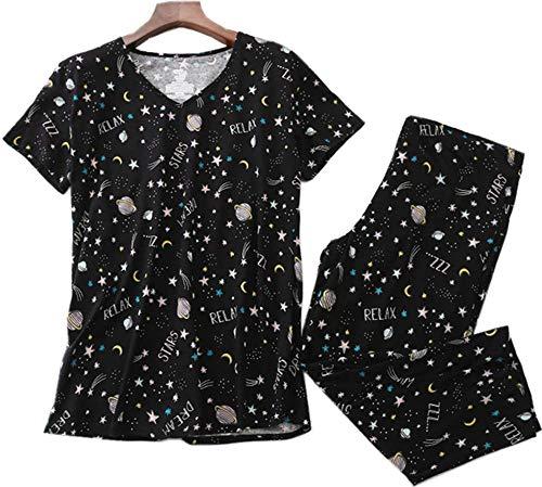 Women's Cotton Pajama Set Capri Pants with Short Tops Sleepwear 2 Piece Knit Nightgown Lucky008-Black ()