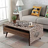 Large African Drum Coffee Table iPrint Linen Blend Tablecloth,Side Pocket Design,Rectangular Coffee Table Pad,Modern,Roaring Leopard Portrait with Rosettes Wild African Animal Big Cat Graphic,Cocoa Beige Black,for Home Decor