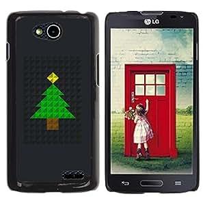 TopCaseStore / la caja del caucho duro de la cubierta de protección de la piel - Tree Christmas Polygon Black Metal - LG OPTIMUS L90 / D415