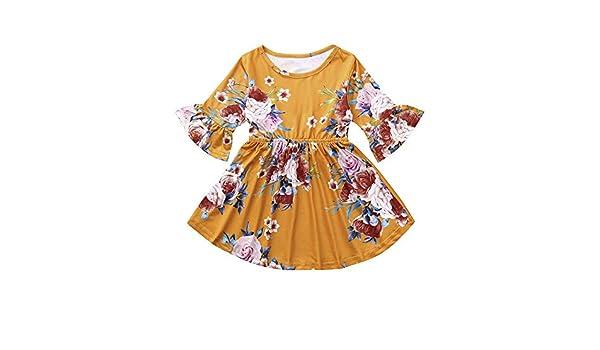 JYC Vestido para Niñas, Vestido para Bebés, Niño Bebé Chicas Largo Mangas FlorImpresión Niños Ropa Princesa Vestir: Amazon.es: Ropa y accesorios