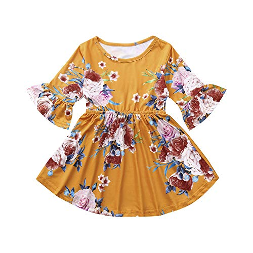 Mustard Pie Clearance (LNGRY Baby Girls Dress,Toddler Newborn Kid Princess Flower Print Butterfly Sleeve Clothes Dress Sundress (3-4 Years Old,)