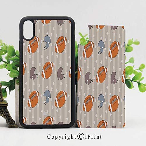 Autumn Slate Tile - iPhone x Case,Faded Stars and Stripes with Classical Sports Symbols USA Retro Tile Sturdy Non-Slip Case Lightweight Shell Protective for iPhone X,Orange Mauve Slate Blue