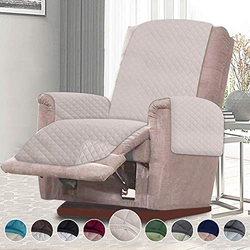 RHF Reversible Chair Cover, Chair Cover, Chair Cover for Dogs, Pet Cover for Chair, Chair Slipcover, Chair Protector, Machine Washable(Recliner Chair: Light Taupe/Light Taupe)