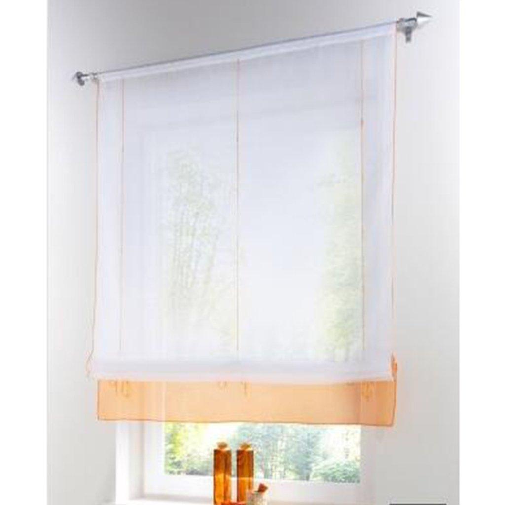 SIMPVALE Tende Voile, Romani Raff Tende Ombra Trasparente tenda per balcone e cucina, Tessuto, Orange, Breite 80cm/Höhe 155cm HHT50602OR