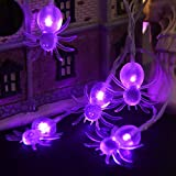 YUNLIGHTS Halloween String Lights, 11ft 30 Purple Spiders Lights Halloween Decoration Lights with 8 Modes, Battery Powered
