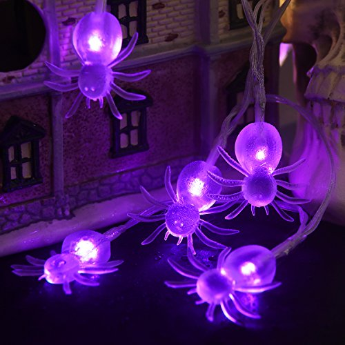 Halloween String Lights, YUNLIGHTS 11ft 30 Purple Spiders Lights Halloween Decoration Lights with 8 Modes, battery Powered