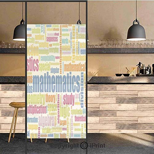 3D Decorative Privacy Window Films,Math Related Different Words Conceptual Terminology Collection,No-Glue Self Static Cling Glass Film for Home Bedroom Bathroom Kitchen Office 24x48 Inch ()