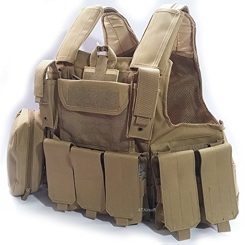 ATAIRSOFT WorldShopping4U Militaire Armée Lourd Devoir Molle Combat Gilet Entraînement de Protection Sécurité Gilet avec… 3