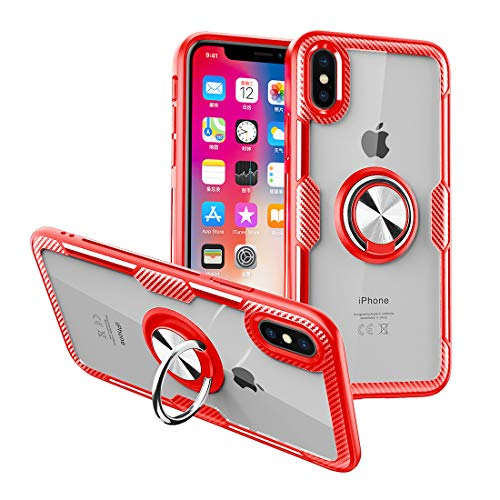 Nicwea Ultra Hybrid iPhone 8 Plus / 7 Plus Case with Clear Backing Slim Silicone Rubber Bumper Frame and 360° Rotating Ring Holder Stand Magnetic for Apple iPhone 7 Plus / 8 Plus - Red ()