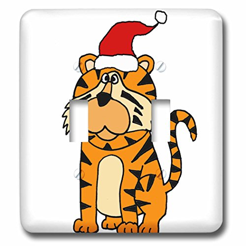 3dRose All Smiles Art Christmas - Cute Humorous Roaring Tiger in Santa Hat Christmas Cartoon - Light Switch Covers - double toggle switch (lsp_263985_2)