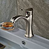 Rozin Brushed Nickel Single Hole Bathroom Sink Faucet Deck Mount Vanity Mixer Tap