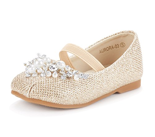 DREAM PAIRS Toddler Aurora-03 Gold Glitter Girl's Mary Jane Ballerina Flat Shoes Size 9 M US ()