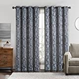 Cheap Becket Gray Top Grommet Blackout Weave Embossed Window Curtain Panels, Pair / Set of 2 Panels, 52×84 inches Each, by Royal Hotel