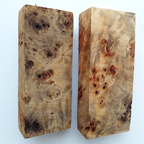 №243 №244 Burl WOODen Poplar Cottonwood Block Blank Knife Knive Handle Scale Blade 125x49x25 124x48x25 - Burl Scales