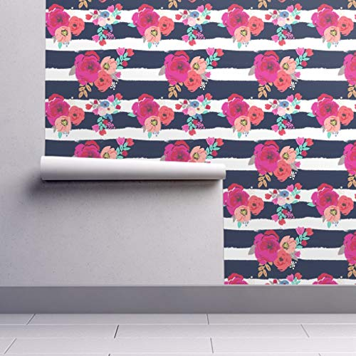 Peel-and-Stick Removable Wallpaper - Floral Floral Stripes Boho Blue White Pink Floral Flower Stripe Navy by Crystal Walen - 24in x 60in Woven Textured Peel-and-Stick Removable Wallpaper Roll