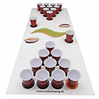 Beer Pong Set White inklusive Spielfeld, 25 Red Solo Cups, 4 Beerpong Bälle &...