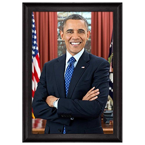Portrait of Barack Obama (44th President of the United States) American Presidents Series Black Framed Art Print Home