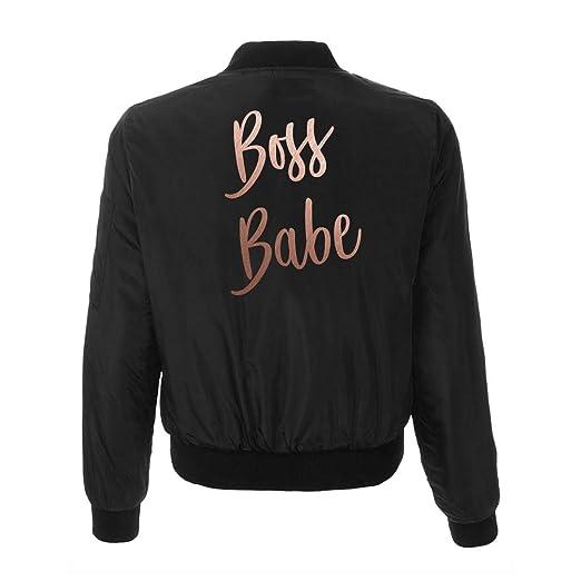 Amazon Com Boss Babe Jacket Womens Black Bomber Jacket With Rose