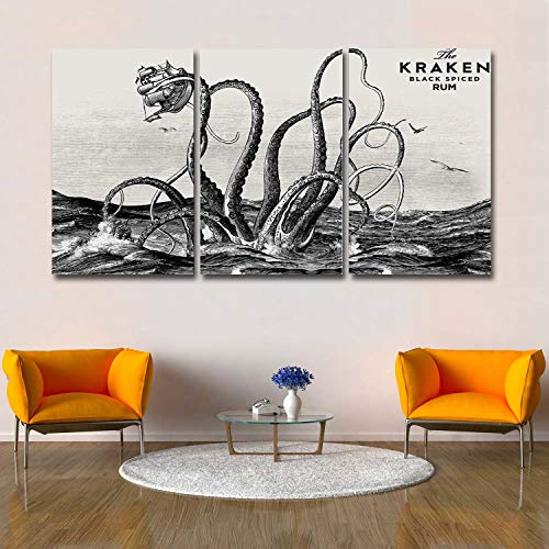 Libaoge 3 Panels Canvas Wall Art - The Kraken Black Spiced Rum Retro Octopus in Ocean Modern Artwork for Bedroom Living Room Office Home Decoration - Ready to Hang, 24