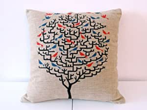 """Decorbox Cotton Linen Square Throw Pillow Case Decorative Cushion Cover Pillowcase for Sofa Red Birds on Tree 18 """"X18 """""""