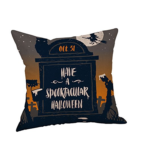 Birdfly Halloween Vibes Throw Pillow Cases Cotton Linen Square Cushion Covers Decorative Pillowcase, Fall Winter Home Decor (Evening)