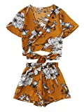 SweatyRocks Women's Boho Floral Print Spaghetti Strap Crop Cami Top With Shorts Yellow M