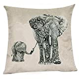 Decorative Pillow Cover - Wonder4 Mother Elephant Pillow Case, Linen Cotton Sofa Cushion Decorative Pillow cover 18 X 18